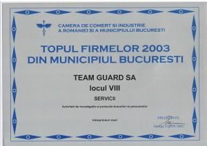 Diploma Team Guard locul 8 2003 Intreprinderi Mari Bucuresti