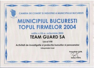 Diploma Team Guard locul 8 2004 Intreprinderi Mari Bucuresti
