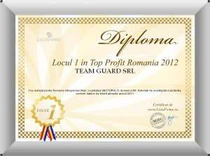In anul 2012, TEAM GUARD este pe primul loc in zona noastra de activitate din puct de vedere al PROFITULUI inregistrat in anul 2011.